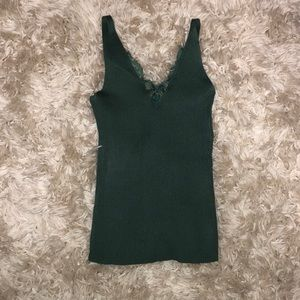 Tops - Forest green spaghetti strap tank with lace trim